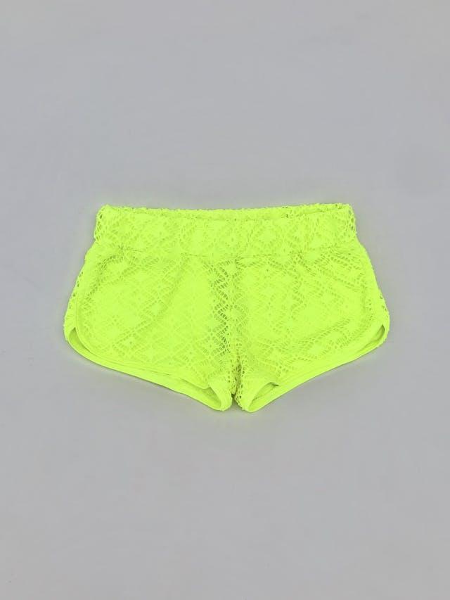 Short No Boundaries de encaje amarillo neón, forrado, con elástico en la cintura Talla 28 foto 1