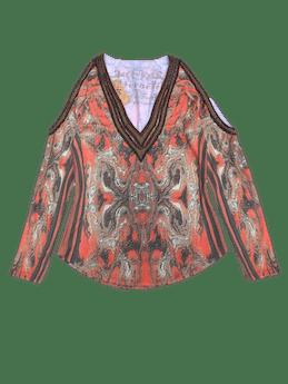 Polo estampado barroco en tonos naranjas y marrones, hombros descubiertos, aplicaciones y detalles bordados. ¡Cool! foto 1