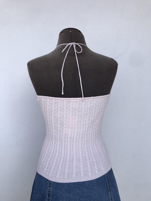 Top Gap de tejido rosadao con textura trenzada, 100% algodón y cuello halter Talla S foto 2