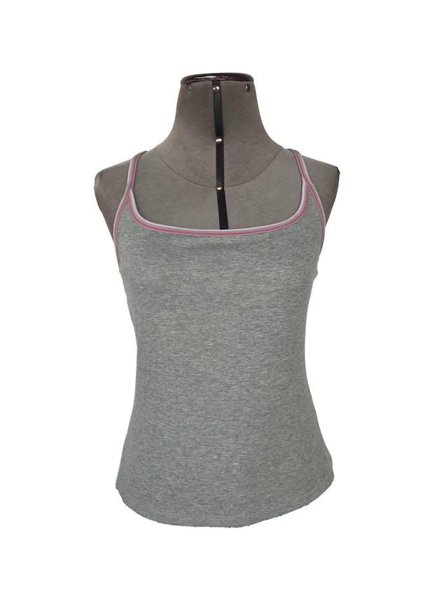 BVD Express plomo 95% algodón strech, ribetes rosadas y top interno, espalda olimpica Talla M foto 1