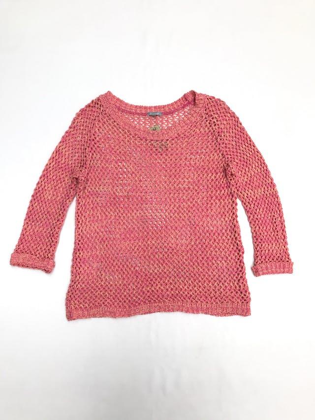 Chompa tejido calado en rombos de hilo melón y rosado, manga 3/4 con dobladillo en puños Talla M foto 1