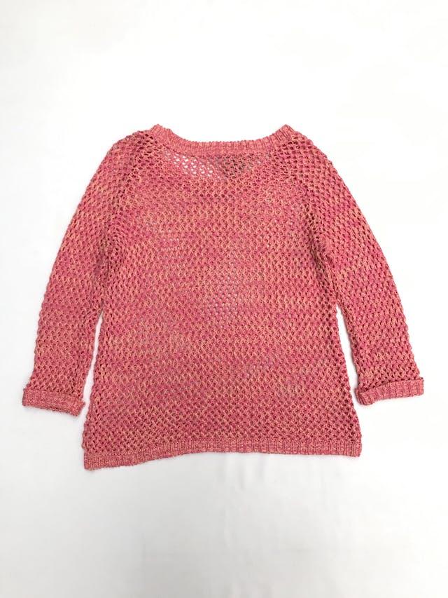 Chompa tejido calado en rombos de hilo melón y rosado, manga 3/4 con dobladillo en puños Talla M foto 2