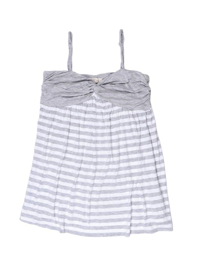 Polo de tiritas Forever 21 tipo algodón, plomo y blanco, se amarra en la espalda. Busto 92 cm foto 1