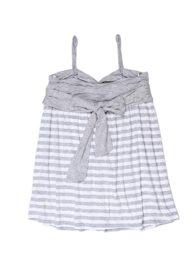 Polo de tiritas Forever 21 tipo algodón, plomo y blanco, se amarra en la espalda. Busto 92 cm foto 2