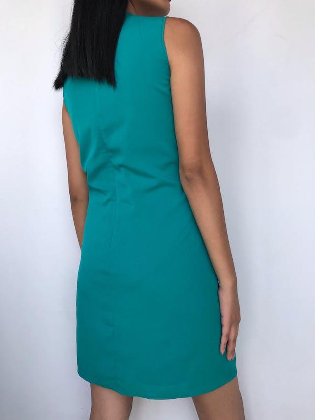 Vestido Sfera de gasa verde jade, forrado, basta en capas y cierre posterior Talla M 30 foto 2
