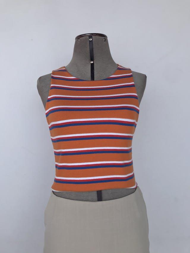 Top Zara naranja con rayas blancas y azules, textura acanalada, 95% algodón ecológico. Nuevo con etiqueta S/ 69 Talla M foto 1