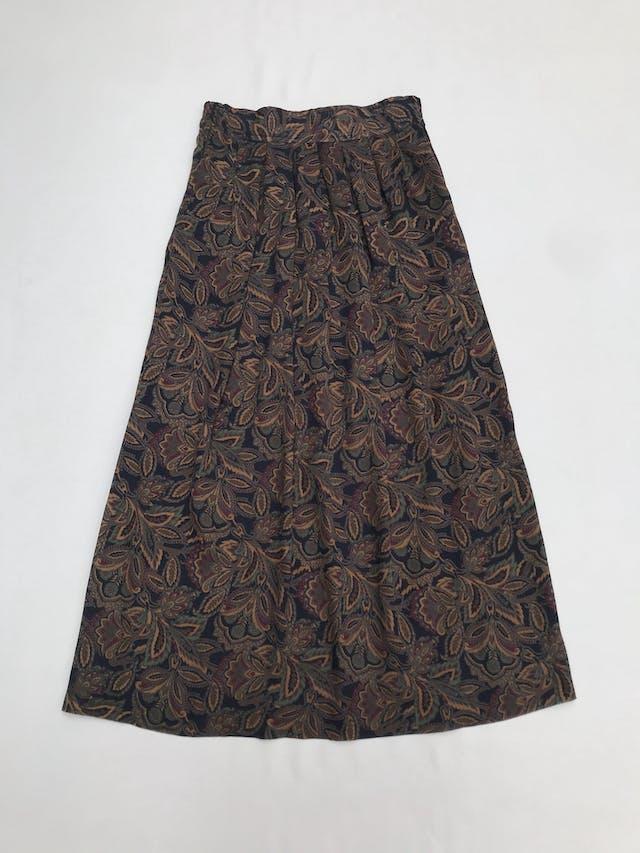 Falda larga vintage de gasa con estampado floral en tonos tierra, elástico posterior en la cintura, bolsillos laterales. Hermosa! Largo 86cm  Talla S (puede ser M) foto 1