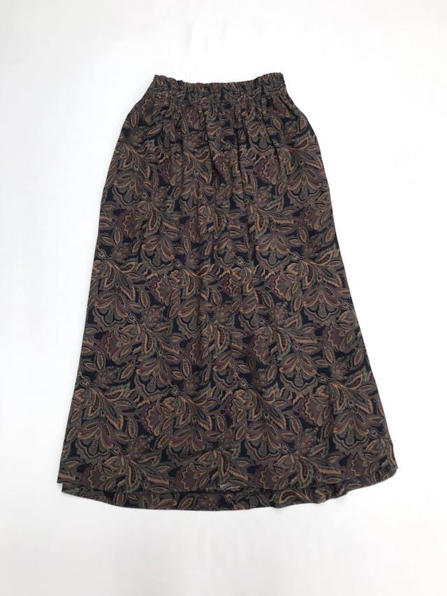 Falda larga vintage de gasa con estampado floral en tonos tierra, elástico posterior en la cintura, bolsillos laterales. Hermosa! Largo 86cm  Talla S (puede ser M) foto 3