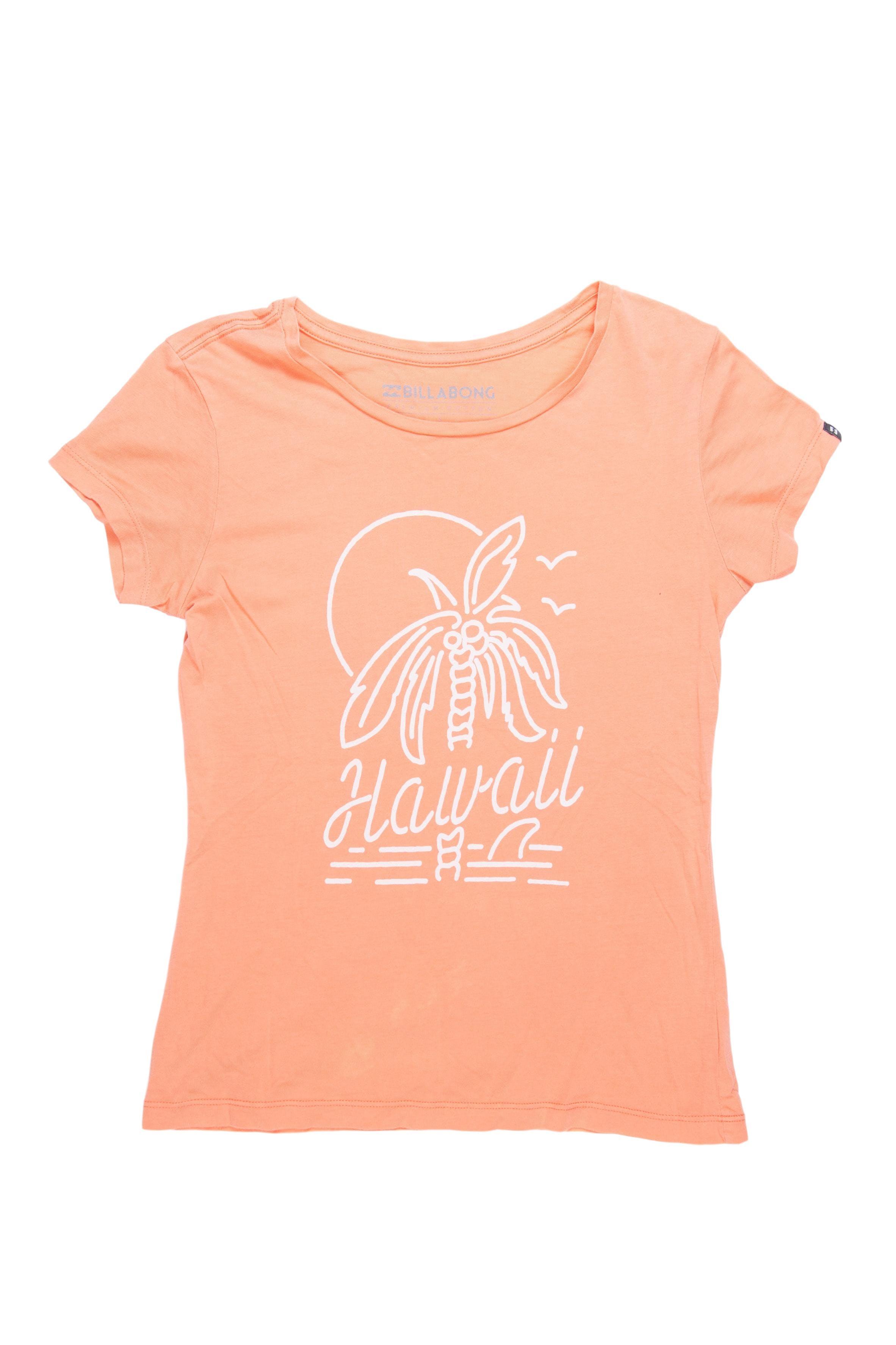 Polo Billabong anaranjado con estampado palmera, 100% algodón