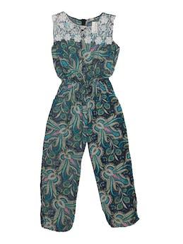 Enterizo pantalón turquesa con estampado paisley, tela tipo chalis, encaje en el pecho, cierre posterior, elástico con la cintura y bolsillos laterales foto 1