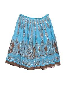 Falda campana Anna Argiolera 100% algodón azul con estampado marrón y aplicación de lentejuelas, con cierre lateral. Cintura 82 cm, largo 70 cm foto 1