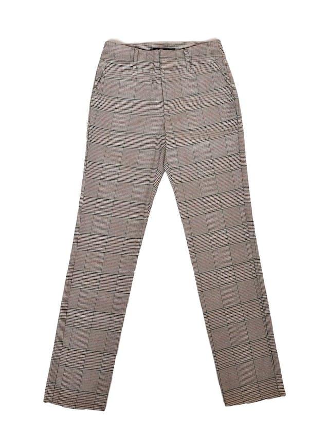 Pantalón Mentha&Chocolate estampado príncipe de gales en tonos beige, anaranjados, verdes y negros, corte pitillo Talla 26 foto 1