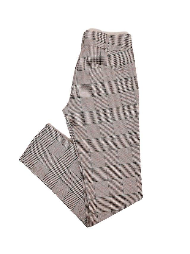 Pantalón Mentha&Chocolate estampado príncipe de gales en tonos beige, anaranjados, verdes y negros, corte pitillo Talla 26 foto 2