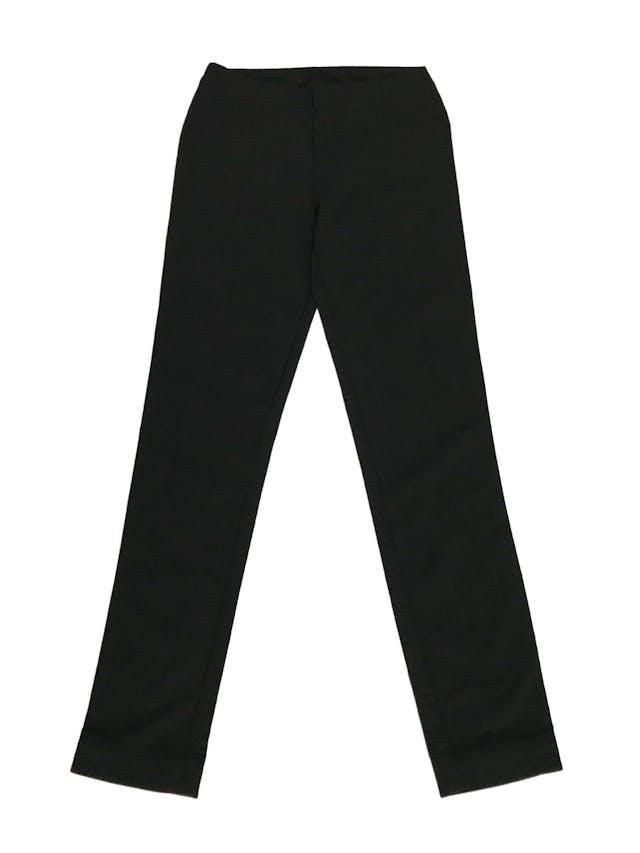 Pantalón Basement negro tipo sastre, sin pretina, con bolsillos posteriores, corte slim Talla 26 foto 1