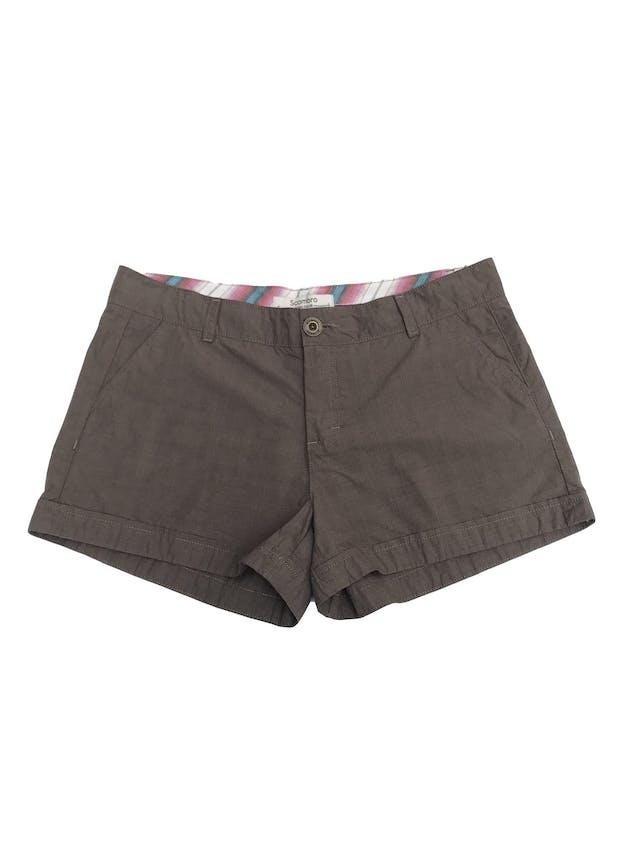 Short Scombro 100% algodón marrón tipo cuadros Talla 31 foto 1