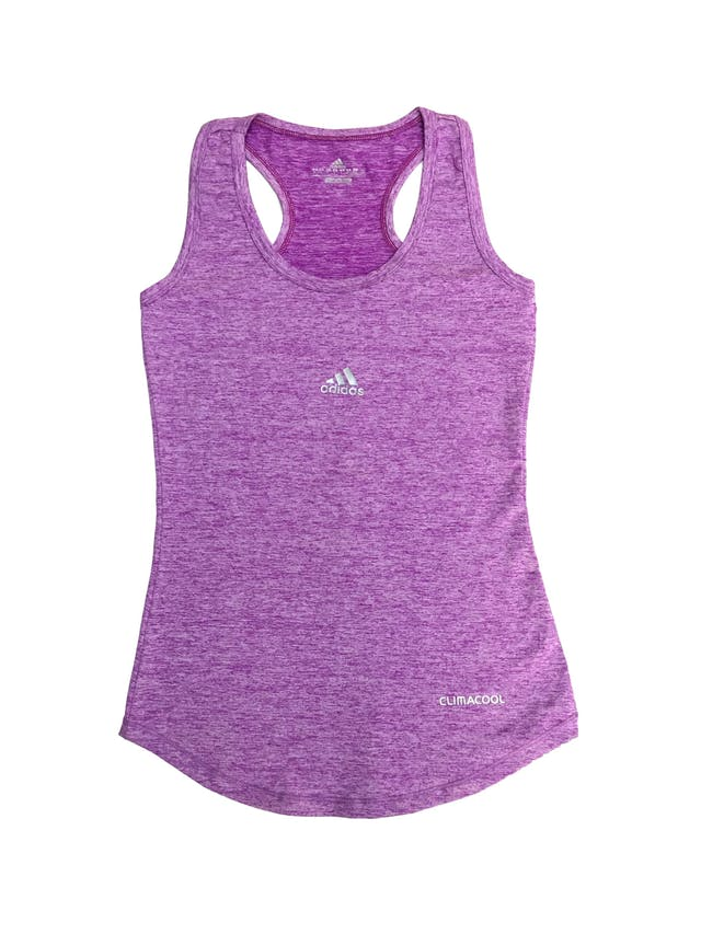 Polo bvd deportivo Adidas morado jaspeado, espalda olímpica foto 1
