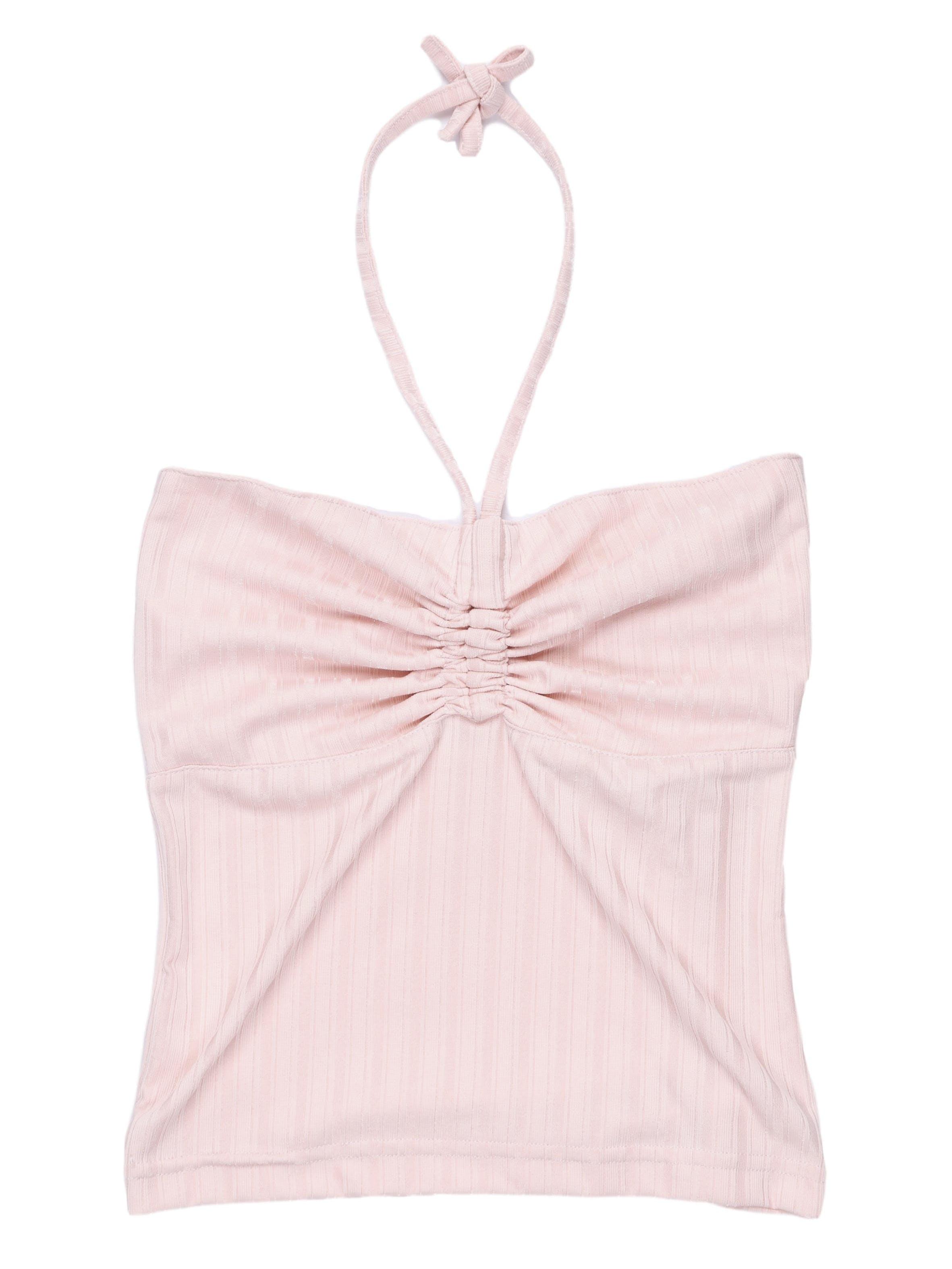 Top rosa cuello halter con recogido en el pecho, tela stretch