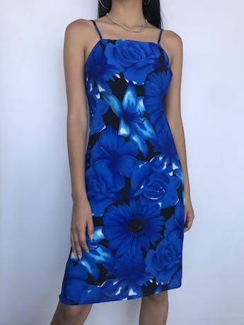 Vestido de gasa negra con estampado de maxi flores azules Talla S foto 1