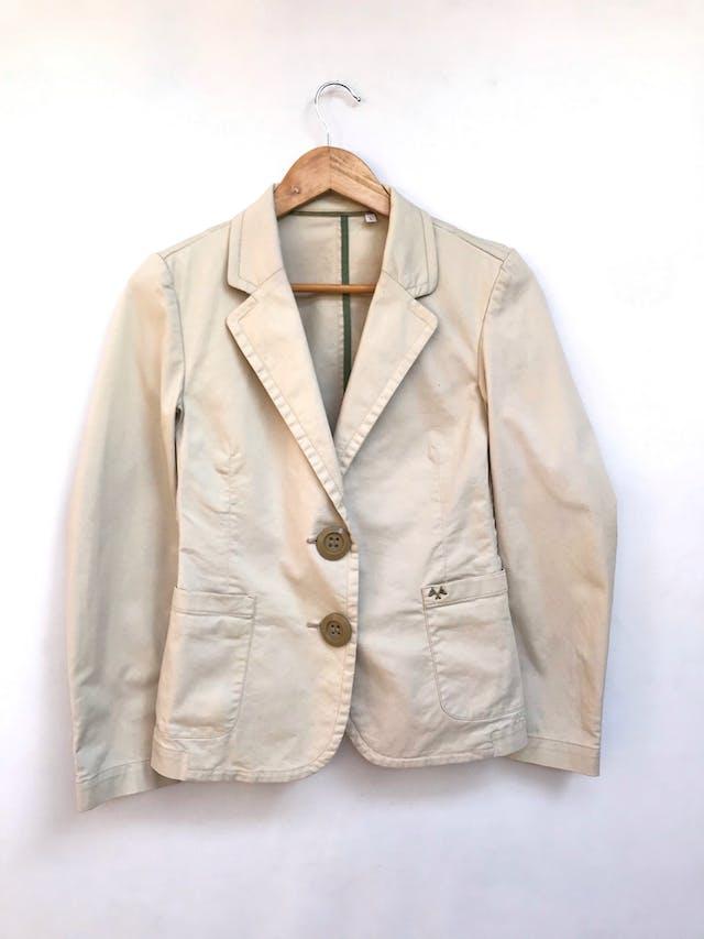 Casaca Thomas Burberry de drill beige 98% algodón, botones delanteros y en puños. Precio orignal S/ 480 Talla S foto 1
