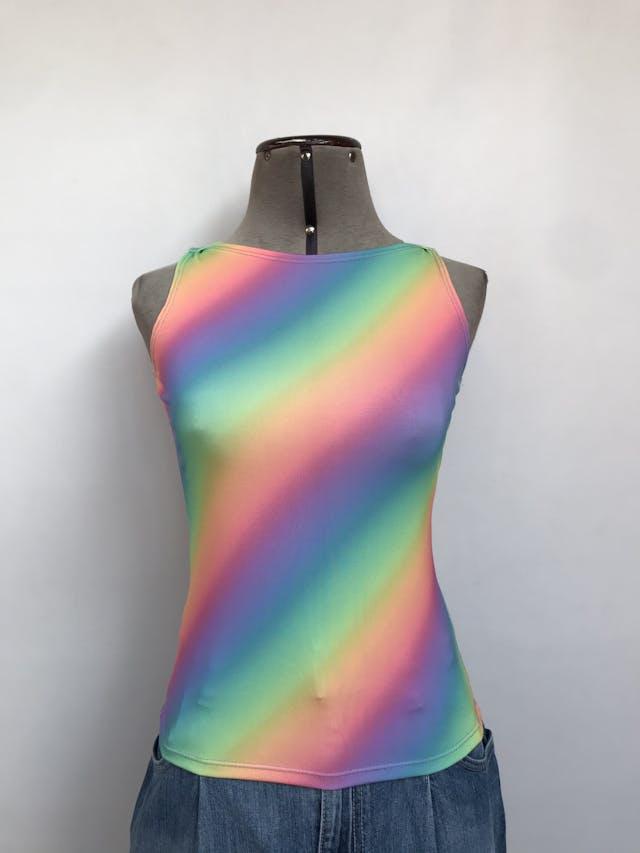 Polo manga cero con estampado multicolor en diagonal Talla S foto 1