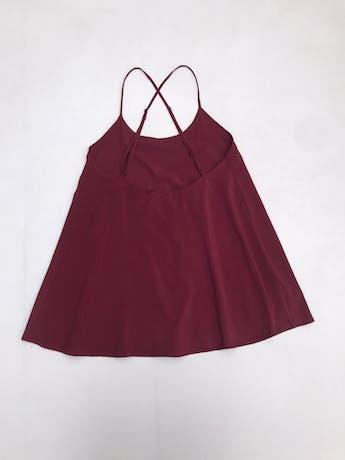 Blusa Bohem larga guinda, de tiritas cruzadas en la espalda, en A, con forro foto 2