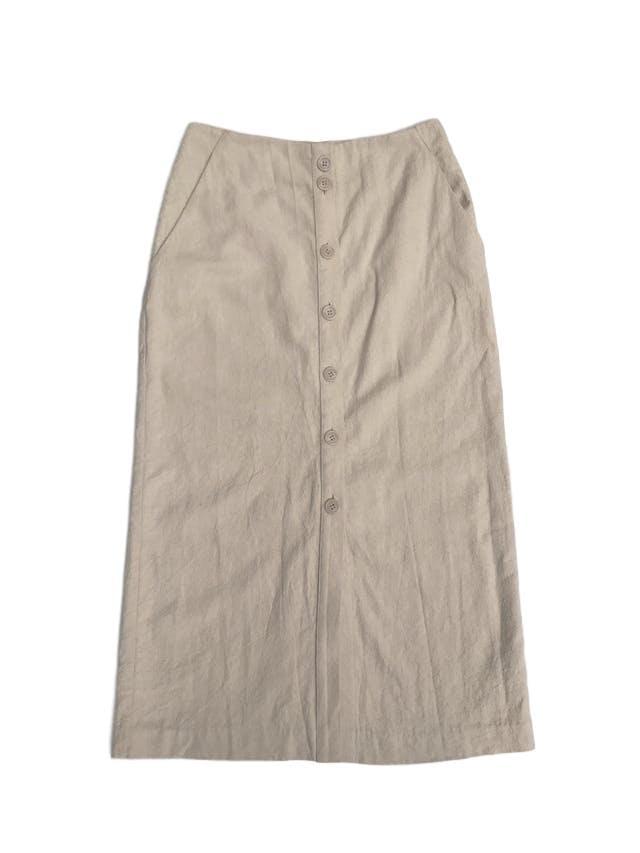 Falda larga H&M 54% lino 46% algodón crema, bolsillos laterales, fila de botones al centro y aberturas en la basta. Precio original S/ 170 Largo 87cm Talla S foto 1