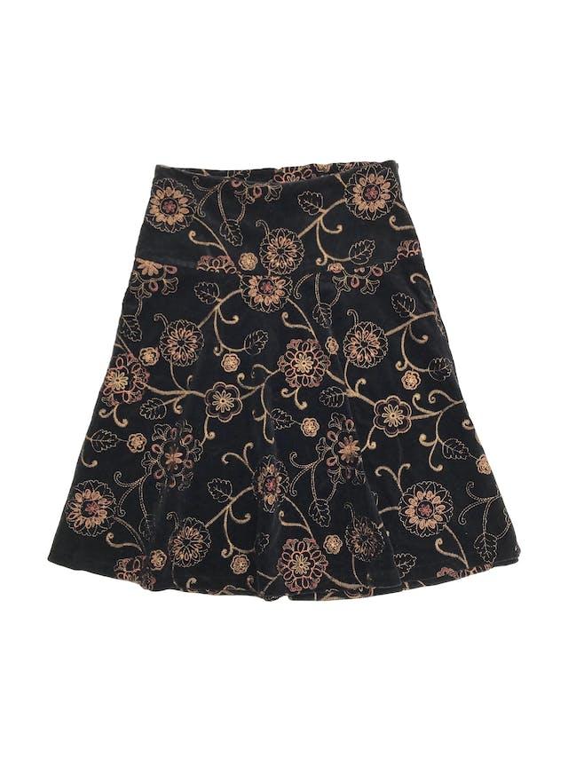 Falda de corduroy negro con bordado de flores doradas, falda en A, pretina ancha con cierre lateral. Largo 60cm Talla S foto 1