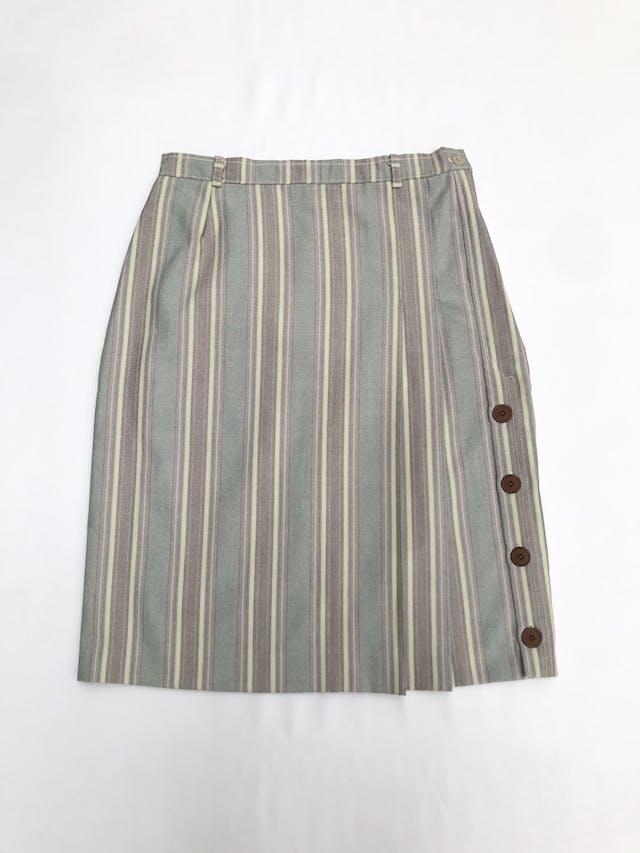 Falda vintage tela tipo drill estampada en franjas pasteles, tableado con botones laterales, lleva forro y cierre lateral. Única! Largo 61cm Talla S foto 1