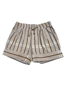 Short Michelle Belau crema con líneas marrones y azules, 54% lino 46% algodón, elástico en la cintura con pasador. Precio original S/ 170 foto 1