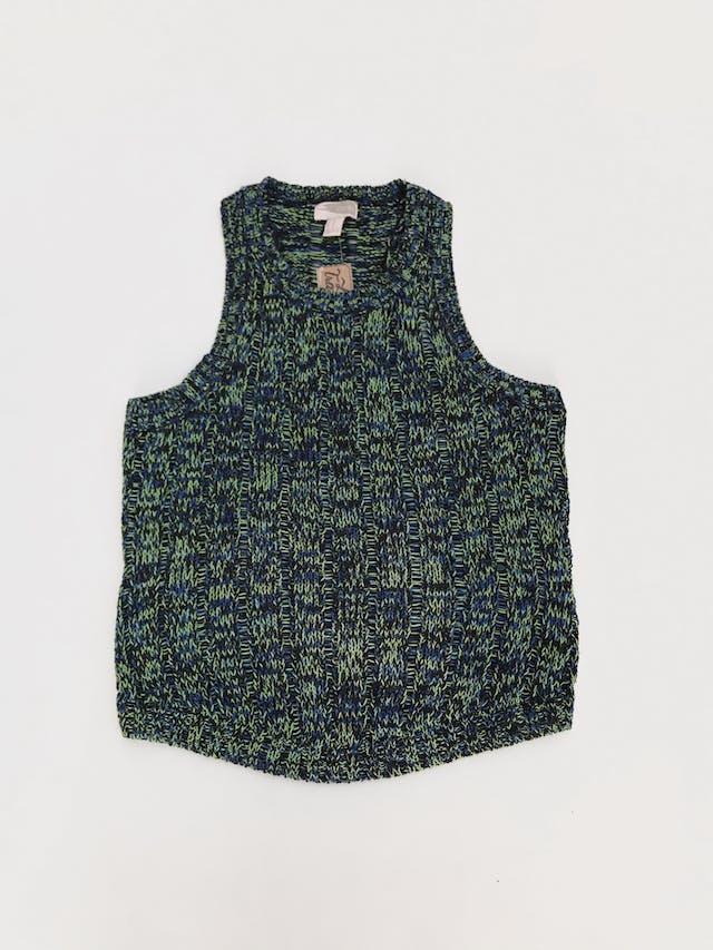 Chaleco cerrado Forever21 tejido de hilos verdes, azules y negros, 98% algodón en dos tipos de punto  Talla M foto 1