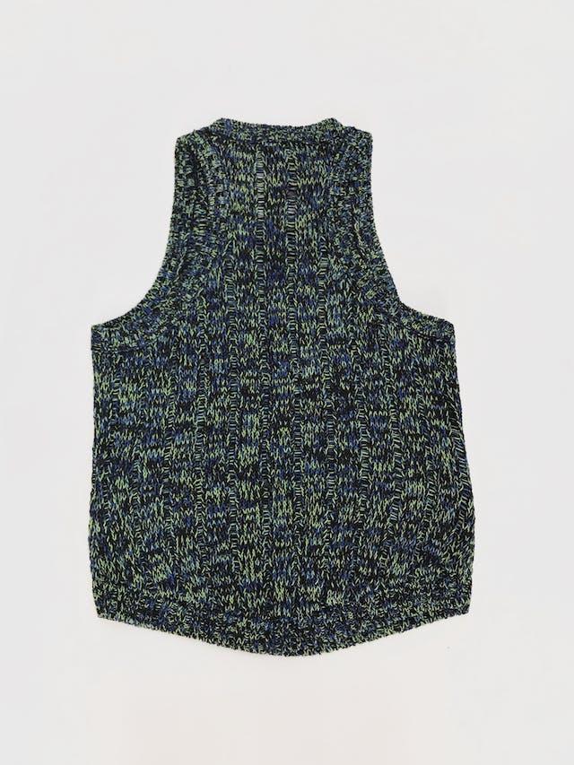 Chaleco cerrado Forever21 tejido de hilos verdes, azules y negros, 98% algodón en dos tipos de punto  Talla M foto 2