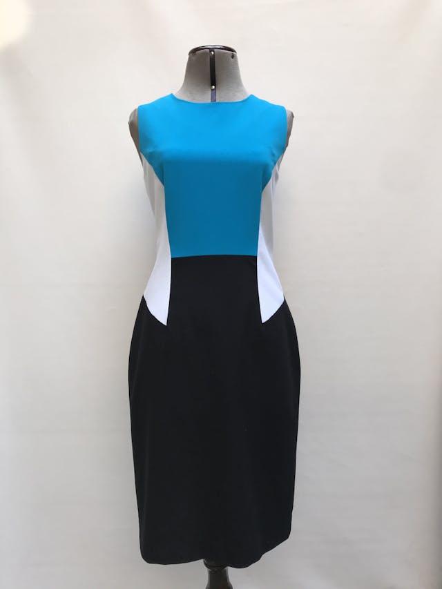 Vestido Calvin Klein tela tipo sastre negro, blanco y turquesa, forrado, con cierre posterior. Precio original S/ 420 Talla M (4) foto 1