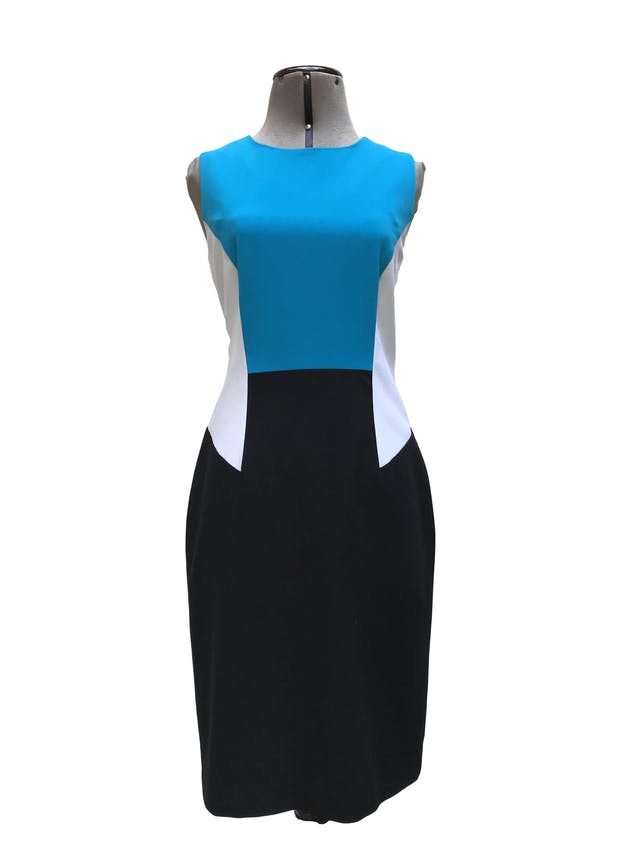 Vestido Calvin Klein tela tipo sastre negro, blanco y turquesa, forrado, con cierre posterior. Precio original S/ 420. Busto 92cm Largo 95cm foto 1