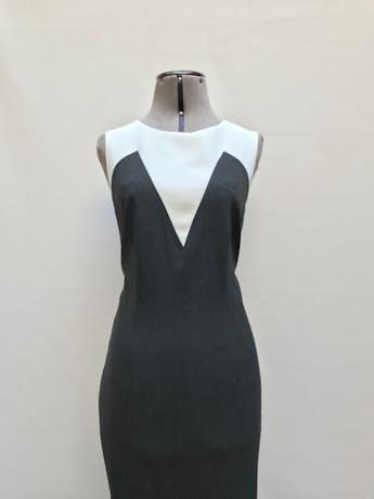 Vestido Ann Taylor gris y blanco, tela tipo sastre, a la rodilla, lleva forro y cierre posterior. Clásico y muy útil! Precio original S/ 600Talla M (8) foto 2
