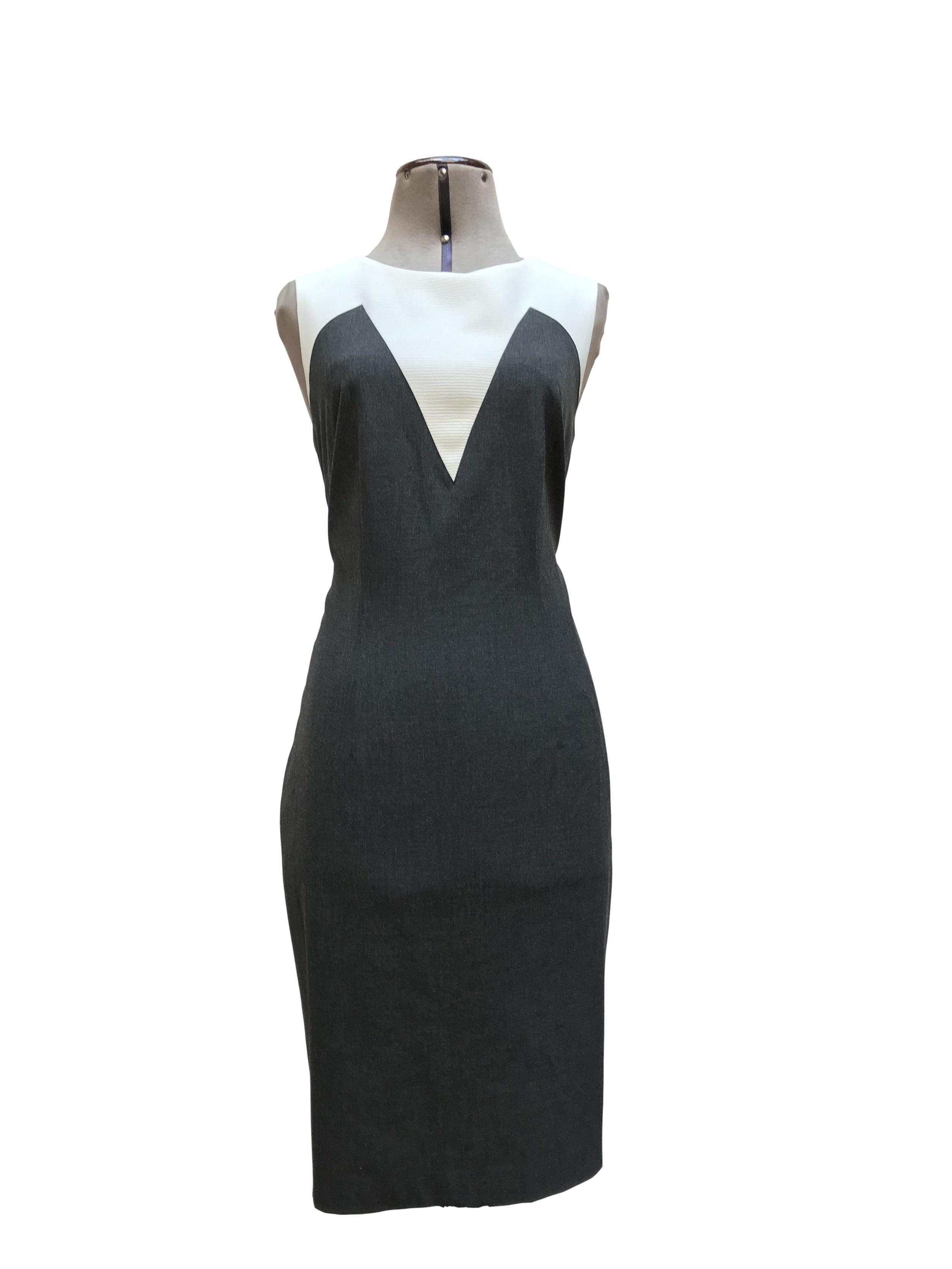 Vestido Ann Taylor gris y blanco, tela tipo sastre, a la rodilla, lleva forro y cierre posterior. Clásico y muy útil! Precio original S/ 600Talla M (8)