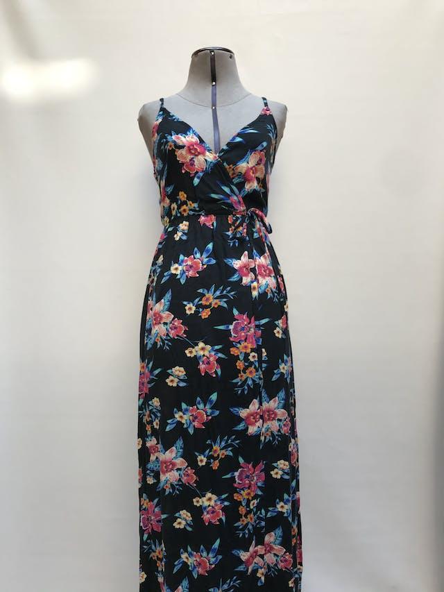 Vestido largo Sfera, azul con estampado de fores, cruzado en escote y falda, elástico debajo del busto Talla S foto 1