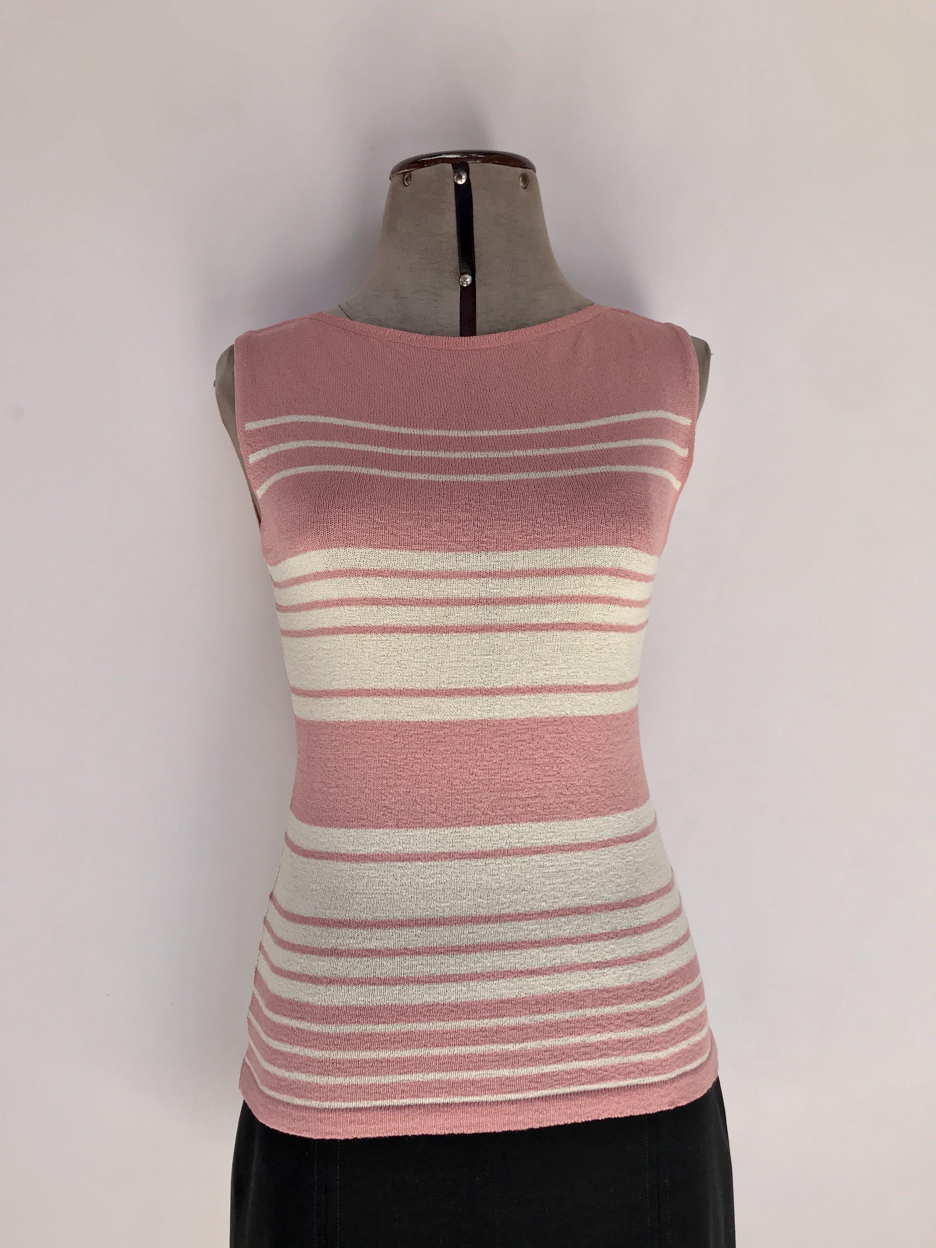 Polo Michelle Belau tejido de hilo en franjas crema y rosa Talla S