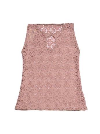 Polo de encaje palo rosa con escote en el pecho. Busto 86cm foto 1