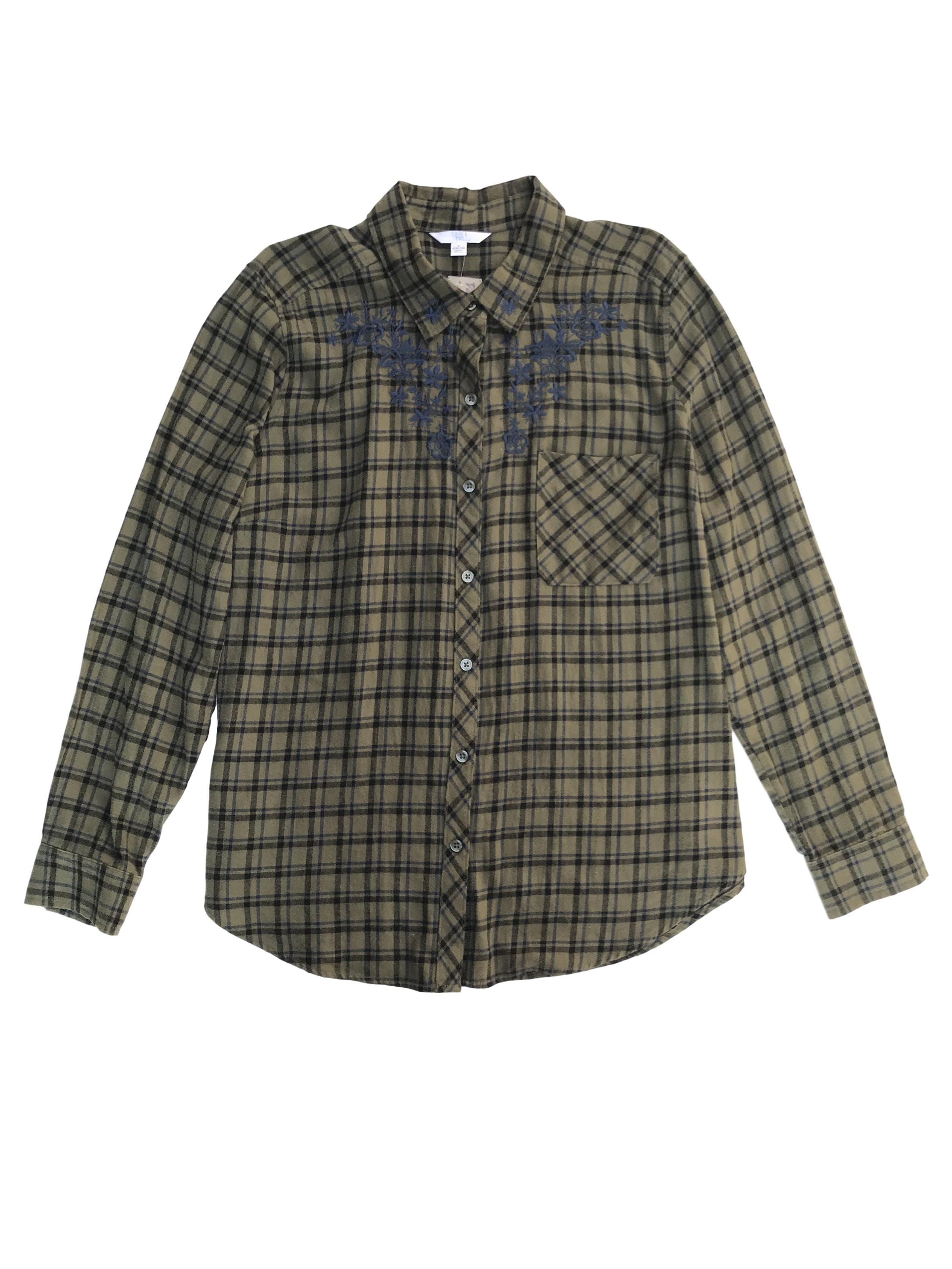 Blusa verde a cuadros negros y azules, 100% algodón tipo franela, camisera con bordado en el pecho
