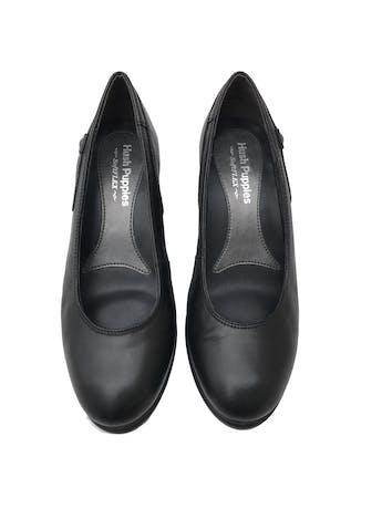 Zapatos Hush Puppies de cuero negro, taco cuña 7cm, comfort flex. Estado 9/10. Precio original S/ 250 foto 2