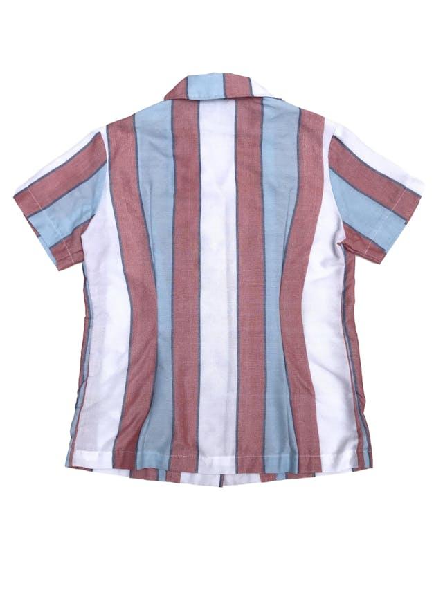Blusa de marca sostenible Anthill de algodón y polyester upcycled, franjas verticales en tonos celeste, blanco y rojo. Busto 96cm. Nuevo. Precio original S/ 220 foto 2