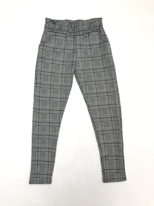 Legging príncipe de gales blanco y negro, gruesa con interior de franela, elástico en la cintura y bolsillos foto 1