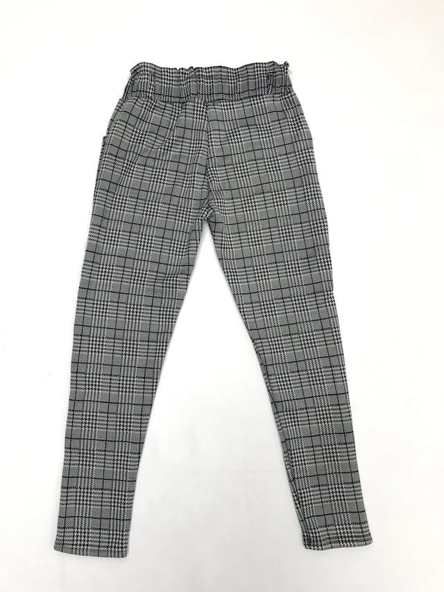 Legging príncipe de gales blanco y negro, gruesa con interior de franela, elástico en la cintura y bolsillos foto 2