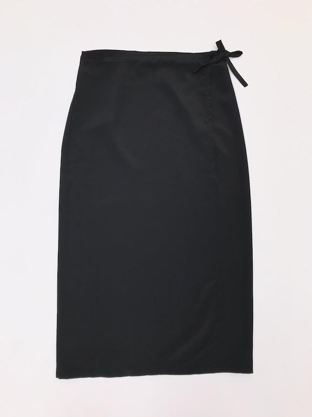 Falda larga envolvente, tela plana negra foto 1