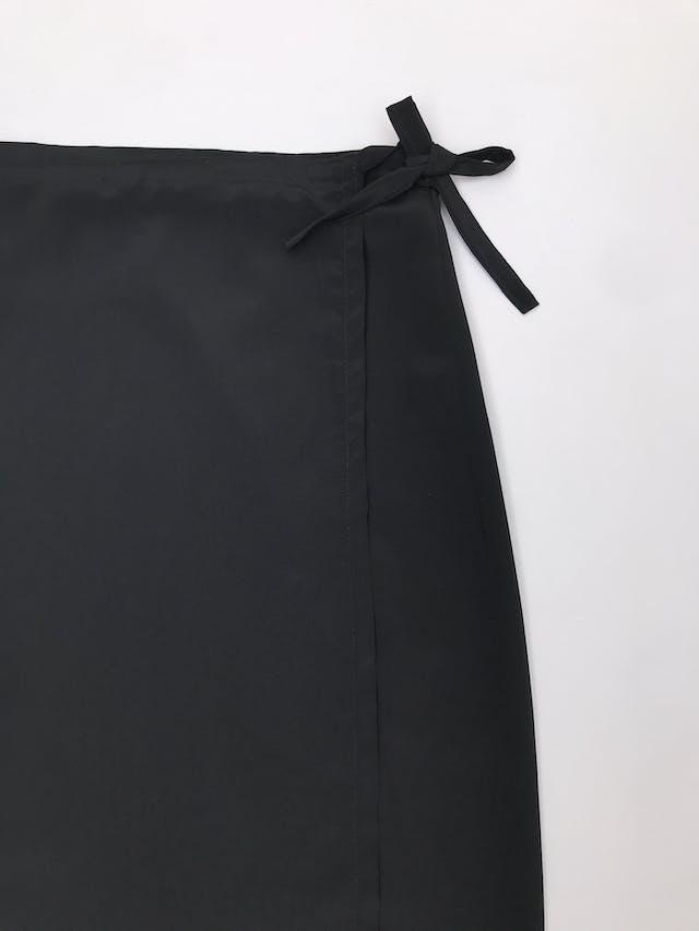 Falda larga envolvente, tela plana negra foto 2