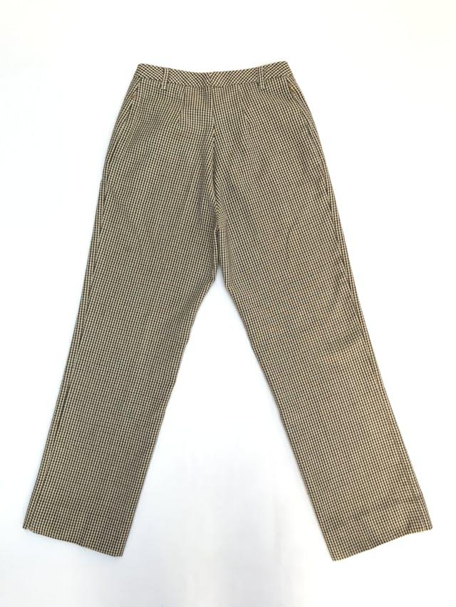 Pantalón Benetton 100% lana a cuadritos amarillos, fucsia y negros, corte recto, bolsillos laterales. Precio original S/ 270 foto 3