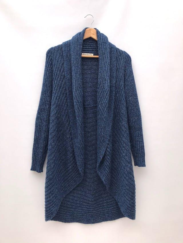 Cardigan largo mezcla de alpaca azul jaspeado con textura tipo acanalado grueso, modelo circular con cuello para doblar y bastas redondeadas foto 1