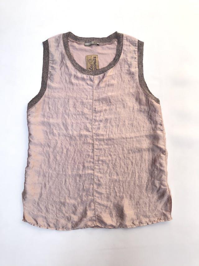 Blusa Zara tipo seda palo rosa satinada con rib jaspeado y aberturas laterales en la basta foto 1