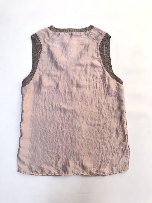 Blusa Zara tipo seda palo rosa satinada con rib jaspeado y aberturas laterales en la basta foto 2