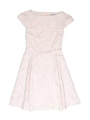 Vestido H&M palo rosa con textura de hojas y detalles rasgados, forrado, cierre posterior y falda con pliegues. Busto 98cm Cintura 76cm Largo 90cm. Nuevo con etiqueta S/ 179 foto 1